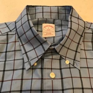 Brooks Brothers 346 Blue Plaid Button Down Shirt L